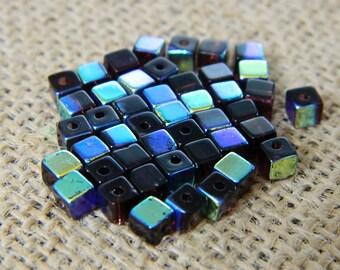 4mm AB Jet Black Square Glass Beads - 25 Beads