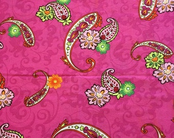 Destash!  Bright pink paisley fabric with beautiful flowers, fabric sale, fabric clearance, quilting fabric