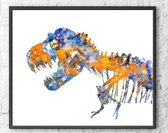 T-Rex print, t-rex poster, dinosaur art, dinosaur bones, blue orange, large format, kids art, dinosaur art, kids wall art - H188