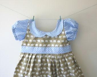 Girls elephant dress, elephant print, elephant gift, baby elephant, peter pan collar, spotty dress, puff sleeves, baby dress, toddler dress