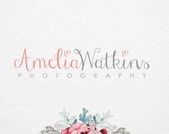 Calligraphy Heart Logo, Pre made Logo, Love logo, Photography logo