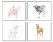 Farm Nursery Art Farm Animal Print Set of 4. Baby Animal Watercolor Baby Room Child Toddler Boy Girl Lamb Sheep Pig Horse Pony Cow Calf Art.
