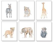 Safari Nursery Print Watercolor Nursery Prints Nursery Watercolor Jungle Nursery Print Lion Elephant Giraffe Tiger Zebra Monkey Set of 6.
