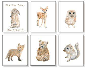 Woodland Nursery Prints Baby Animal Prints Forest Watercolor Childrens Art Kids Art Bear Deer Fox Owl Squirrel Set of 6 & Pick Your Bunny.