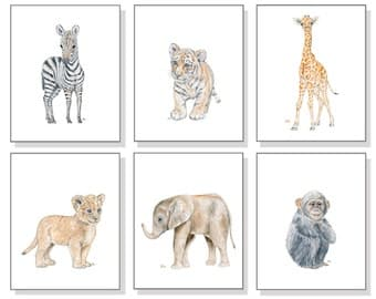 Safari Nursery Print Watercolor Nursery Prints Nursery Watercolor Jungle Nursery Print Lion Elephant Giraffe Tiger Zebra Monkey Set of 6.