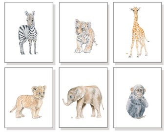 Safari Nursery Print Safari Nursery Art Safari Animal Art Nursery Watercolor Nursery Jungle Wall Art Decor Kid Art Children Art Set 6 Prints