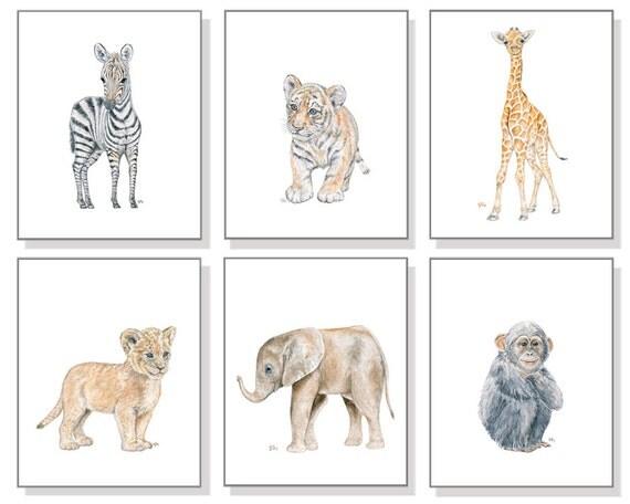 Safari Nursery Print Watercolor Nursery Prints Nursery
