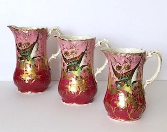 3 Beautiful Pink & Raspberry Pitchers circa 1850's