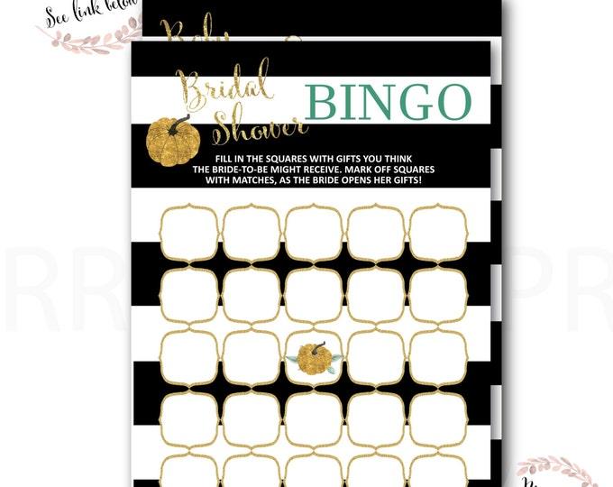 Pumpkin Bridal Shower Bingo // Bingo Game // Gold Pumpkin // Gold Glitter // Bridal Shower Game // Fall in love // STARS HOLLOW COLLECTION