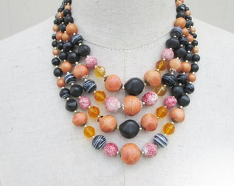 Halloween Black Orange Amber Gorgeous Multi Strand Beaded Necklace Graduated Japan