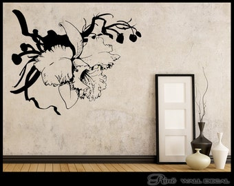 Flower Wall DECAL, Flower Vinyl sticker, Flowers wall sticker, Fleur adhésifs muraux, bedroom wall decor, bedroom wall art, nursery decor