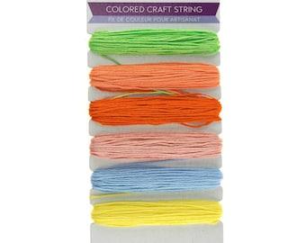 Colored Craft Thread String, Pastel, 29.5-feet