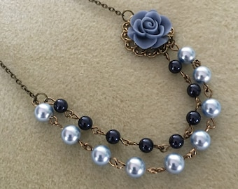 Pearl Double Strand Cabochon Necklace