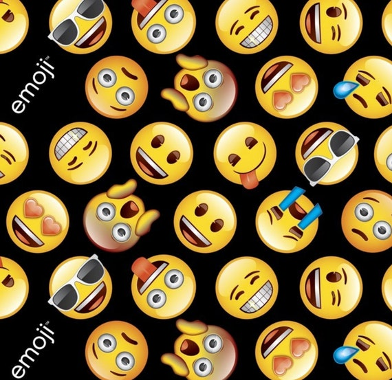 On sale until monday emoji happy face by reneeschoicefabrics for Emoji material by the yard