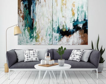 Original Large Abstract Painting, Acrylic Painting on Canvas. Extra Large Painting - Wall Art, Modern Texture Yellow, Blue, White, Brown