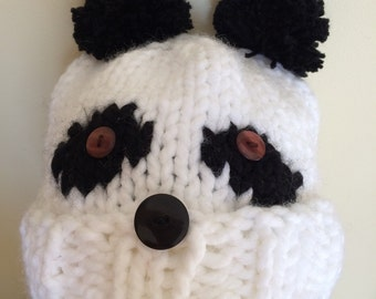 Chunky knitted panda hat