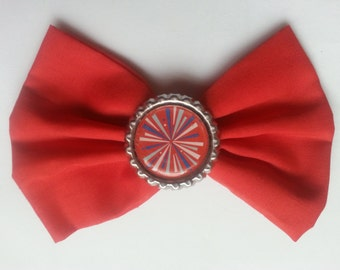 Fireworks- Fourth of July- Fourth of July Hair Bow on Red- Fireworks Hair Bow on Red- Patriotic Hair Bow- Patriotic- Red White and Blue Bow