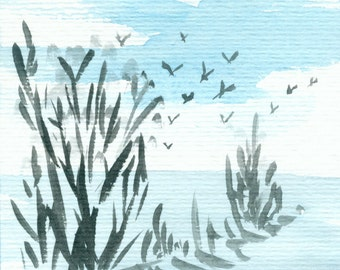 "Small watercolor ""Landscape with a flock of birds"""
