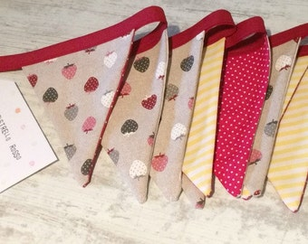 Cotton fabric bunting banner, strawberry bunting banner, bunting for parties & birthday