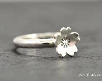 Sakura Blossom Ring, 100% HANDMADE RING, SAKURA ring, Cherry blossom ring, Japanese ring, Sterling silver ring, Gift for her, Kawaii ring