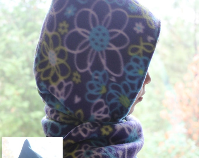 Hooded Fleece Scarf with Pockets, Reversible Fleece Scarf with Pockets, Aqua Blue and Purple Scarf, Scarf w/Pockets, Reversible Scarf.