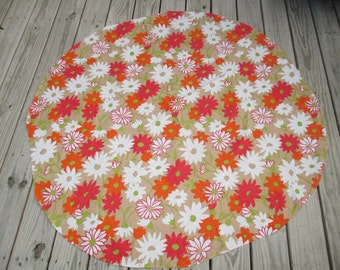 Vintage Retro Flower Power Round Tablecloth