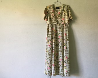Vintage Dress - Long Maxi Grunge Floral Short Sleeve Tied at the Back
