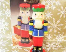 Christmas Nutcracker Candle, Vintage Soldier Candle, Silvestri Red Green Blue Figural Candle, Christmas In July, Nut Cracker Holiday Candle