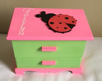 Ladybug jewelry box pink and green jewelry organizer Christmas gift idea for girls toddler personalized jewelry box customized eco friendly