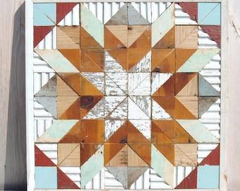 barn quilt block, salvaged wood barn quilt, checkered quilt block, geometric wall art