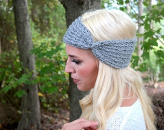 Handcrafted Crochet Headband in Grey color