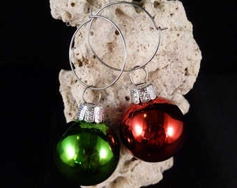 Red and Green Holiday Ornament Hoop Earrings
