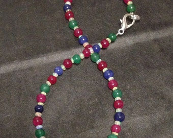 Rainbow Gemstone Bracelet with Ruby, Emerald, Sapphire, and Fire Opal Beads