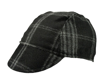 Black / checkered wool cycling cap - handmade cap; winter cap; bicycle cap; wool cap; cycling clothes