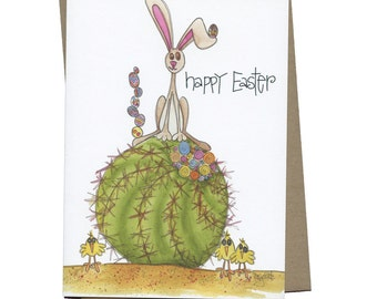 Easter Greeting Card Barrel Cactus Rabbit