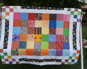 Baby Quilt - Lap Quilt - Bright Colors Baby Quilt - Colorful Baby Quilt - Wall Hanging - Youth Quilt - Patchwork Quilt - Bouncing Borders