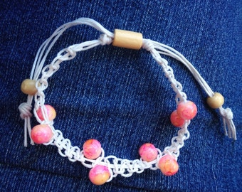 Boho Chic Braided Pink Bead White Hemp Bracelet