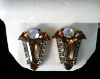 Vintage Deco clip-on crystal and rhinestone earrings