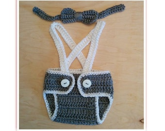 Crochet Baby Boy Set - Diaper Cover with Suspenders and Bow Tie, Baby Shower Gift,Photo Prop,Newborn Boy Coming home outfit