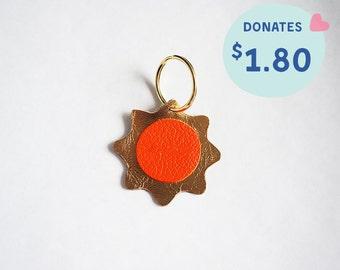 Handmade Metallic GOLD SUN Leather Charm / Keychain