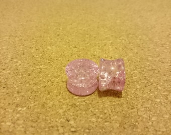 "Pair of Pink shattered quartz stone ear plugs, 8,10,12,14, 16 mm- 5/16"" (0g), 3/8"" (00g), 9/16"", 5/8"" AA"