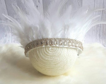 White feather crown photoprop. Winter princess.  Adjustable ready to send