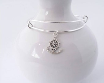 Anchor and ship wheel charm bangle bracelet