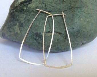Rectangle Hoops, Sterling Silver or Gold Filled, Can be made Long or Small, Forged by LisaJStudioJeweler