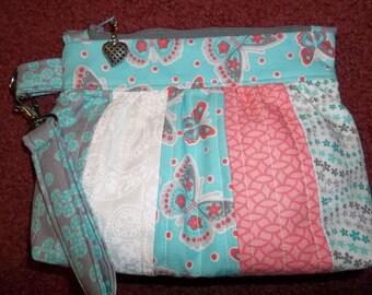 Handmade (Bella Clutch) Butterfly Wristlet Floral Teals, Pinks, Greys