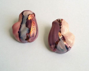 Amazing Vintage Silver Tone Hand Painted Ceramic Free Form Post Stud Earrings