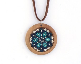 Pendant Necklace, Beaded Pendant, Bead and Wood Pendant, Flower Pendant, Gift for Her, under 30USD