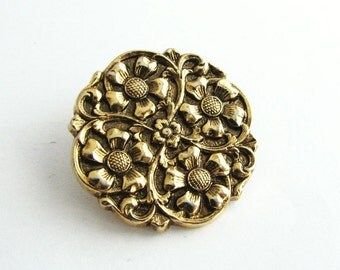 Large vintage metal button, Fantasy flower button with metal shank, unused!!