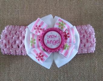 Snowflake Headband, Winter Headband, Pink Headband, Baby Headband, Baby Hair Accessory, Snowflake Hairbow, Infant Headband, Snow Angel Bow