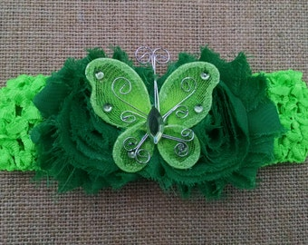 Butterfly Headband, Flower Headband, Baby Headband, Green Headband, Baby Hair Accessory, Newborn Headband, Baby Girls Headband